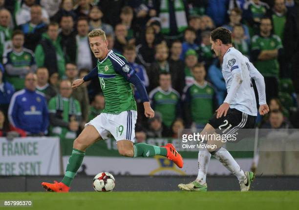 United Kingdom 5 October 2017 George Saville of Northern Ireland in action against Sebastian Rudy of Germany during the FIFA World Cup Qualifier...