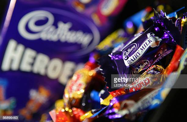 A box of Cadbury's Heroes chocolate's are pictured in London 21 February 2006 The British confectionery and soft drinks giant Cadbury Schweppes...