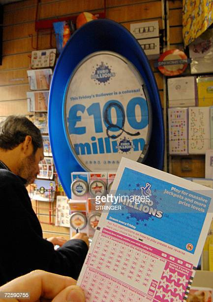 A man buys a euromillions lottery ticket at a newsagents store in central London 17 November 2006 Friday's Euromillions jackpot is estimated at 120...