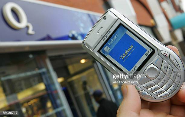 United Kingdom: A mobile phone carrying the logo of Spanish telecom company Telefonica is seen outside an O2 mobile phone shop in London, 31 October...