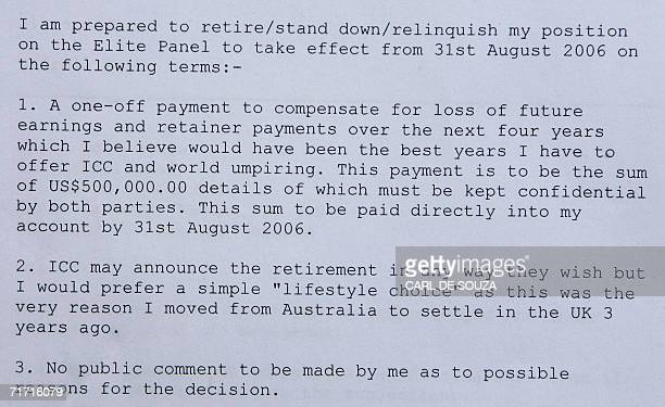 A passage from correspondence written by cricket umpire Darrell Hair to the International Cricket Council in return for a sum of 500000 dollars is...