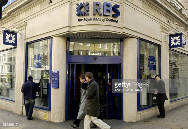 A Royal Bank of Scotland branch is pictured in Haymarket in London 28 February 2006 The Royal Bank of Scotland the secondbiggest British bank...