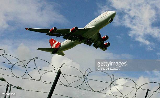 A Virgin Atlantic Airways aircraft takes off from the South Terminal of Gatwick Airport in Sussex in southeast England 17 August 2006 Airlines are...