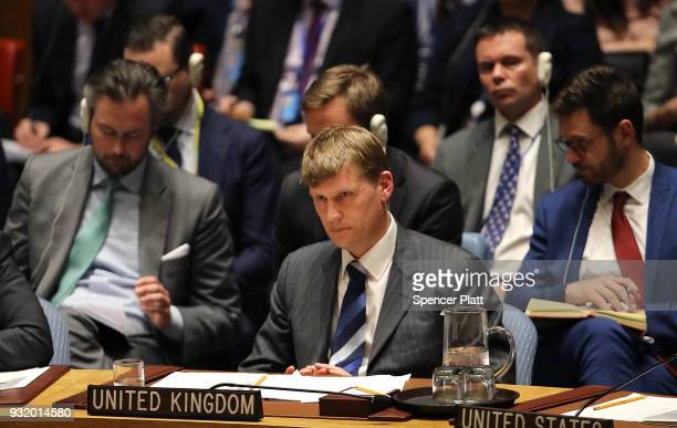 United Kingdom Ambassador to the United Nations Jonathan Allen sits in the security council after the UK called for an urgent meeting of the UN...