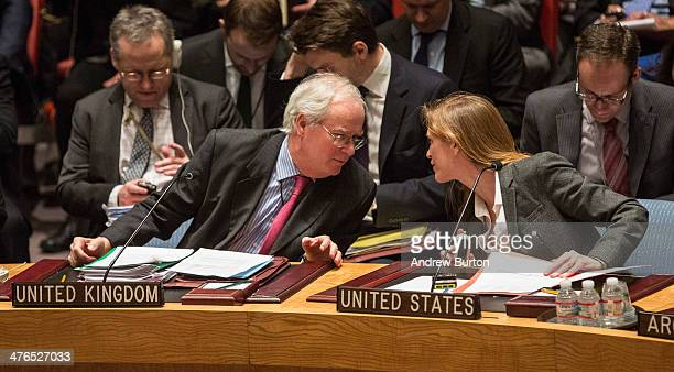 United Kingdom Ambassador to the United Nations Mark Lyall Grant and United States Ambassador to the UN Samantha Power speak before a UN Security...