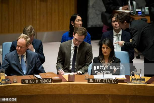 United Kingdom Ambassador to the United Nations Matthew Rycroft and US ambassador to the United Nations Nikki Haley attend a Security Council meeting...