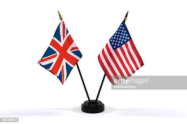 united kingdom and usa flags isolated on white - diplomacy stock pictures, royalty-free photos & images