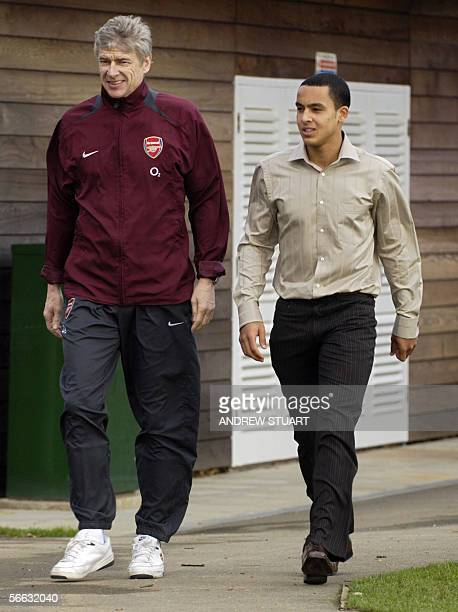 United Kingdom: Arsenal Football Club manager Arsene Wenger walks with 16 year old Theo Walcott, at the club's training ground near London Colney in...