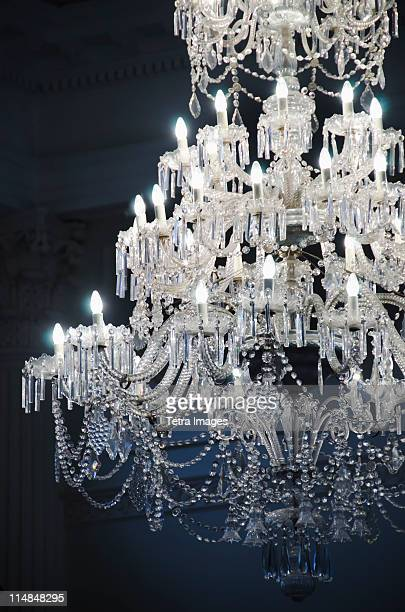 United Kingdom, Bristol, close up of crystal chandelier