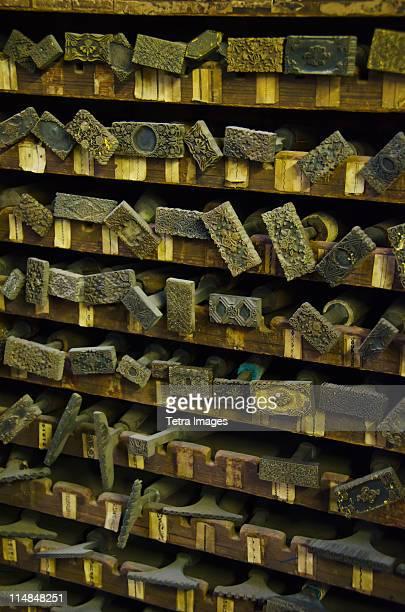 United Kingdom, Bristol, close up of printing blocks from antique book binding