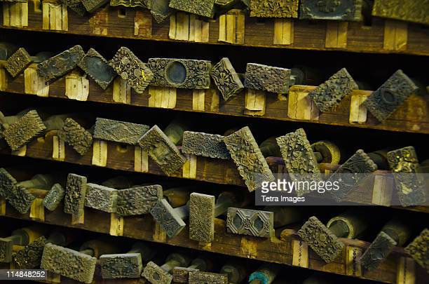 United Kingdom, Bristol, close up of printing blocks from antique book binding