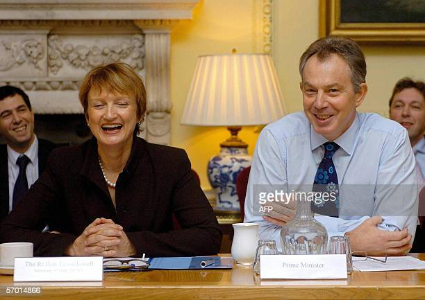 Britain's Prime Minister Tony Blair and Culture Secretary Tessa Jowell address a meeting of television executives to discuss the digital switchover...