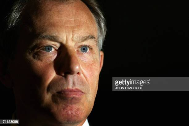 Britain's Prime Minister Tony Blair gives his monthly press conference in 10 Downing Street in London 08 June 2006 Blair said Thursday that he had no...