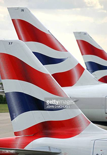British Airways tail fins are seen at Heathrow Airport in London 11 August 2005 British Airways announced on Thursday 22 June 2006 that British and...