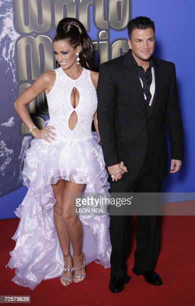 British glamour model Jordan and husband singer Peter Andre arrive at the World Music Awards in Earls Court London 15 November 2006 The awards are...