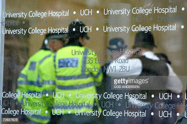 British police gather in the lobby of the University College Hospital in London 24 November 2006 hours after the death of former Russian spy...