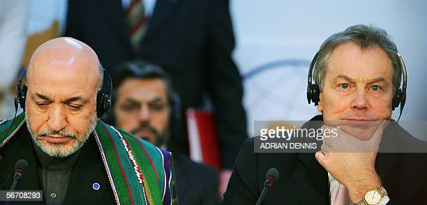 United Kingdom: British Prime Minister Tony Blair and Afghan President Hamid Karzai listen to opening statements at a conference on Afghanistan in...