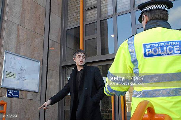 British rock singer Pete Doherty arrives at Thames magistrates court in east London 04 December 2006 Doherty was Monday fined 770 pounds and banned...