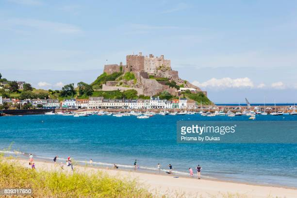 United Kingdom Channel Islands Jersey Gorey Beach and Mont Orgueil Castle