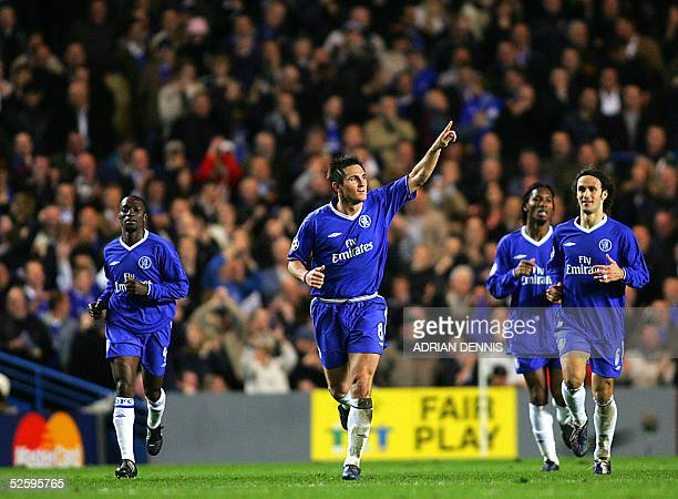 Chelsea's Frank Lampard celebrates scoring his second goal against Bayern Munich with teammates Claude Makelele Didier Drogba and Ricardo Carvalho...