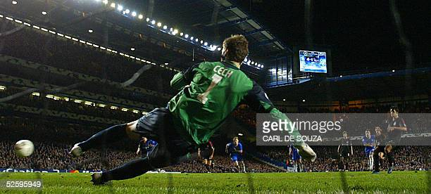 Chelsea's goalkeeper Petr Cech misses a penalty kick from Bayern Munich's Michael Ballack during their first leg Champion's League quarterfinal...