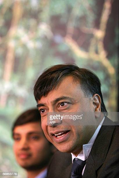 Chief Executive Officer of Mittal Steel Lakshmi Mittal addresses a press conference with his son and Chief Financial Officer Aditya Mittal at the...