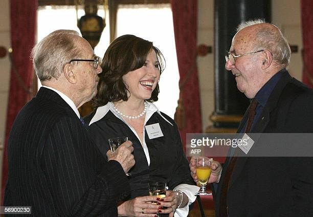 Conducter Sir Charles Mackerras exConservative party press secretary Amanda Platell and author and broadcaster Clive James talk during a reception...