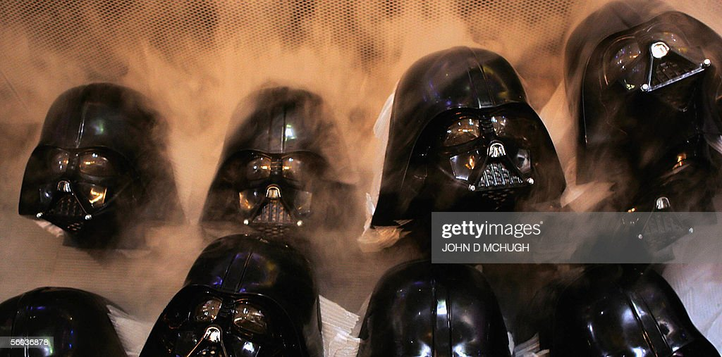 Darth Vader masks are seen at a photcall : News Photo