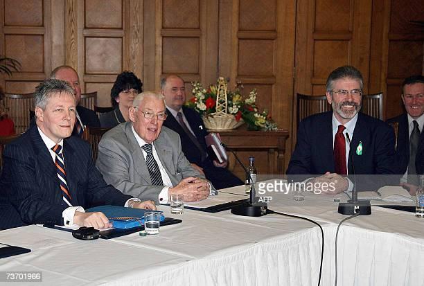United Kingdom: Democratic Unionist Party deputy leader Peter Robinson , DUP leader Ian Paisley and Sinn Fein chief Gerry Adams speak to the media...