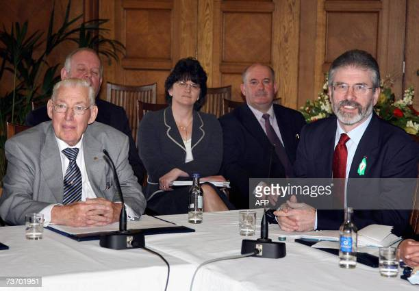 United Kingdom: Democratic Unionists leader Ian Paisley and Sinn Fein chief Gerry Adams speak to the media during a press conference at the Stormont...