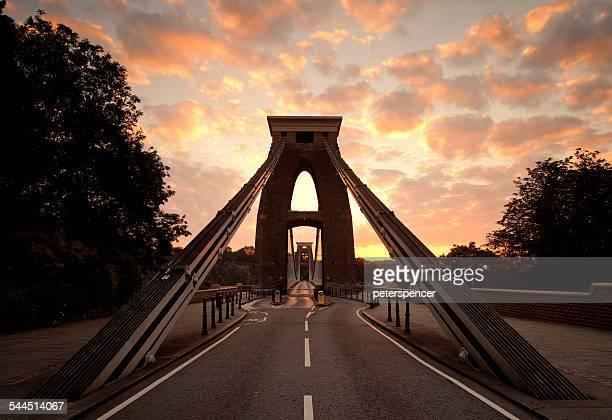 United Kingdom, England, Bristol, Clifton Suspension Bridge at sunrise