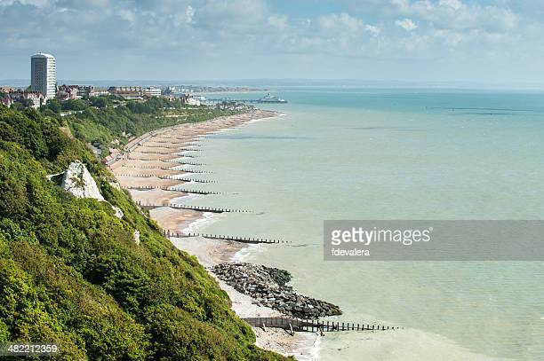 united kingdom, england, east sussex, eastbourne, elevated view of seafront - eastbourne stock pictures, royalty-free photos & images
