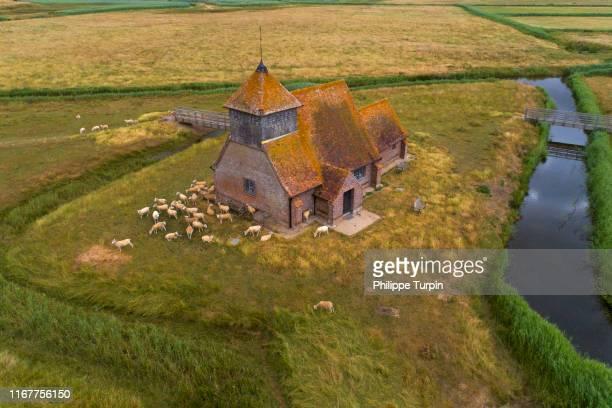 united kingdom, england, kent, fairfield, st thomas, becket church, romney marsh - paisajes de st thomas fotografías e imágenes de stock