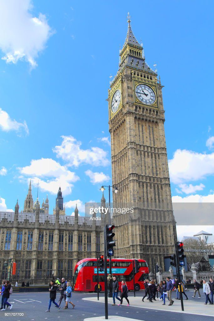 Big Ben clock tower and the Palace of Westminster. : News Photo
