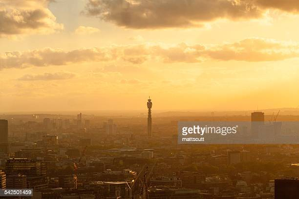 united kingdom, england, london, cityscape with british telecom tower at sunset - mattscutt stock pictures, royalty-free photos & images