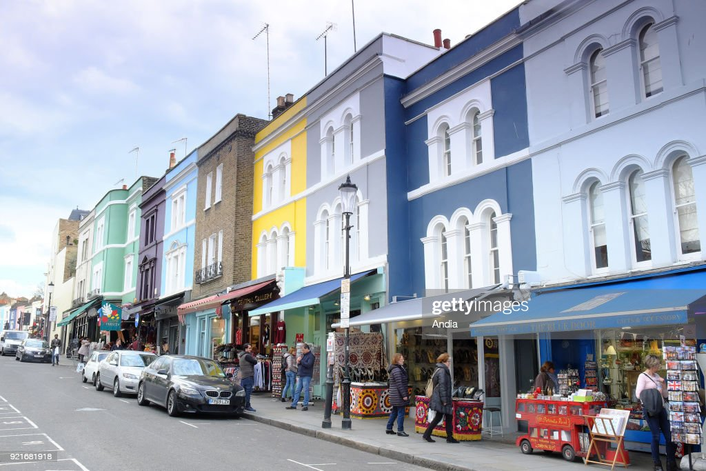colourful house facades in the district of Notting Hill.