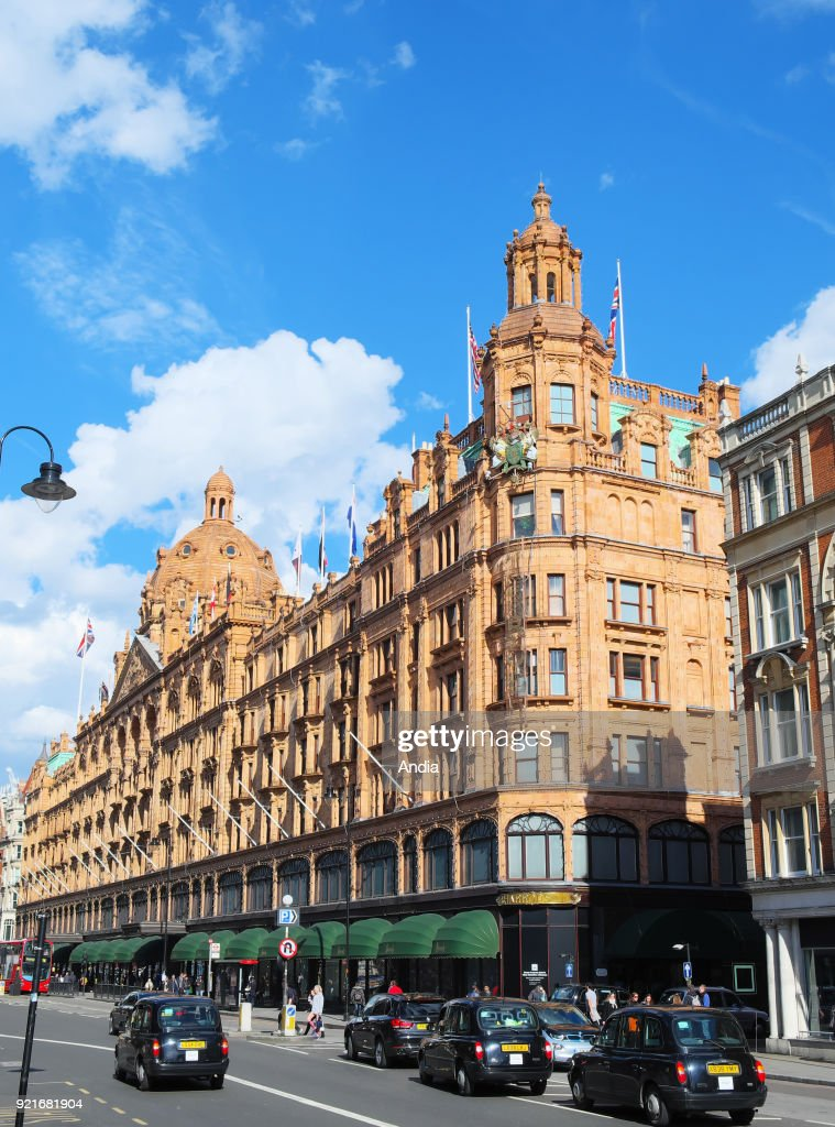 Harrods luxury department store located on Brompton Road, Knightsbridge District.