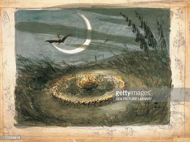 United Kingdom England London Ring of Fairies Dancing in the Moonlight by George Cruikshank watercolor