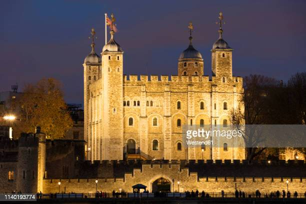 united kingdom, england, london, tower hill, white tower at night - tower of london stock pictures, royalty-free photos & images