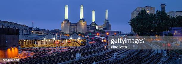 United Kingdom, England, London, View of Battersea Power Station at dusk
