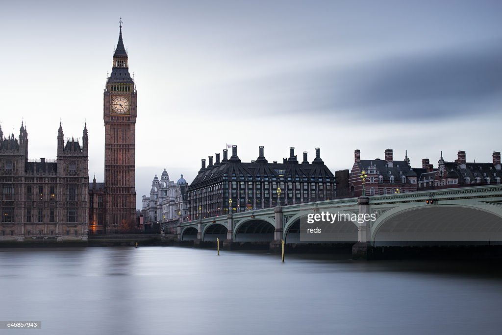 United Kingdom, England, London, View of Big Ben and Westminster Bridge : Stock Photo