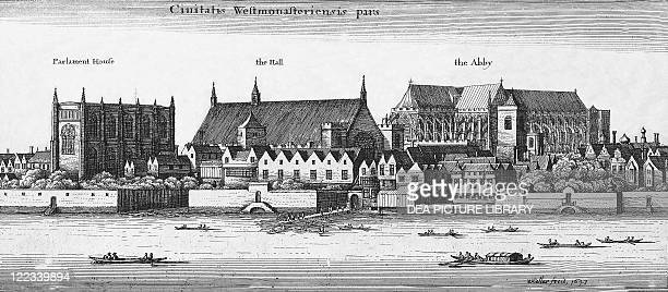 United Kingdom England London View of Westminister from the Thames engraving by Wenceslaus Hollar 1647