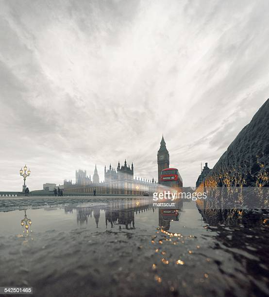 United Kingdom, England, London, Westminster Bridge in rain with incoming double-decker bus
