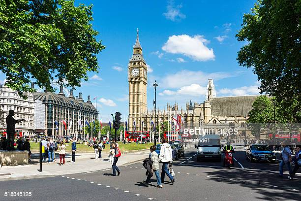 United Kingdom, England, London, Westminster, Parliament Square with Palace of Westminster and Elizabeth Tower