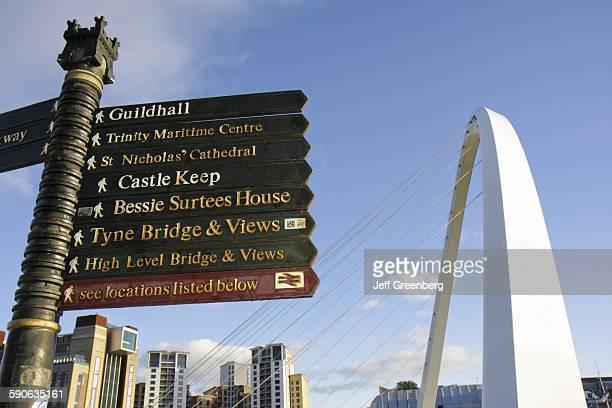 United Kingdom England Northumberland NewcastleUponTyne Quayside Gateshead Millennium Bridge Signs