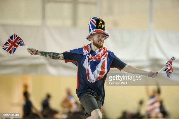 United Kingdom fan runs onto the court prior to the start of a game between Britain and Australia during the Invictus Games Wheelchair Basketball...