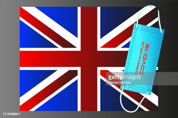 united kingdom flag with vector illustration of disposable mask and covid-19 inscription - banner vector stock pictures, royalty-free photos & images