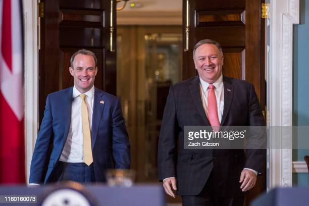United Kingdom Foreign Secretary Dominic Raab left and US Secretary of State Mike Pompeo right arrive before speaking during a joint press event at...
