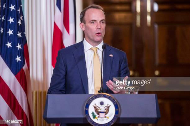 United Kingdom Foreign Secretary Dominic Raab speaks during a joint press event at the State Department on August 7 2019 in Washington DC It was Mr...