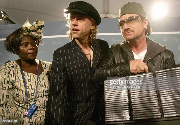 United Kingdom: Former Irish singer and Live 8 organiser Bob Geldof , Kenyan Nobel Prize winner Wangari Maathai and U2 lead singer Bono show a case...